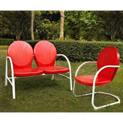 Griffith 2-Piece Metal Outdoor Conversation Seating Set - Loveseat and Chair in Red