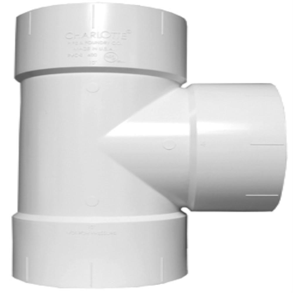 10 in. x 10 in. x 4 in. PVC DWV Straight Tee Reducing