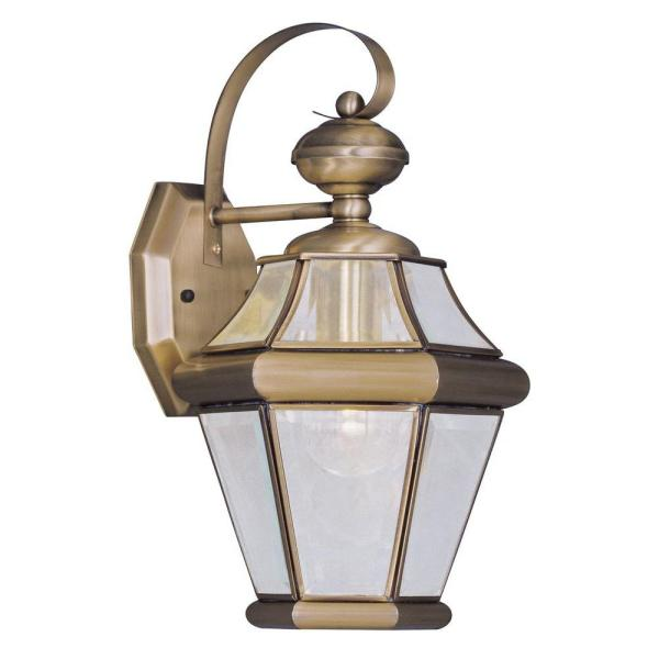 1-Light Antique Brass Outdoor Wall Lantern Sconce with Clear Beveled Glass