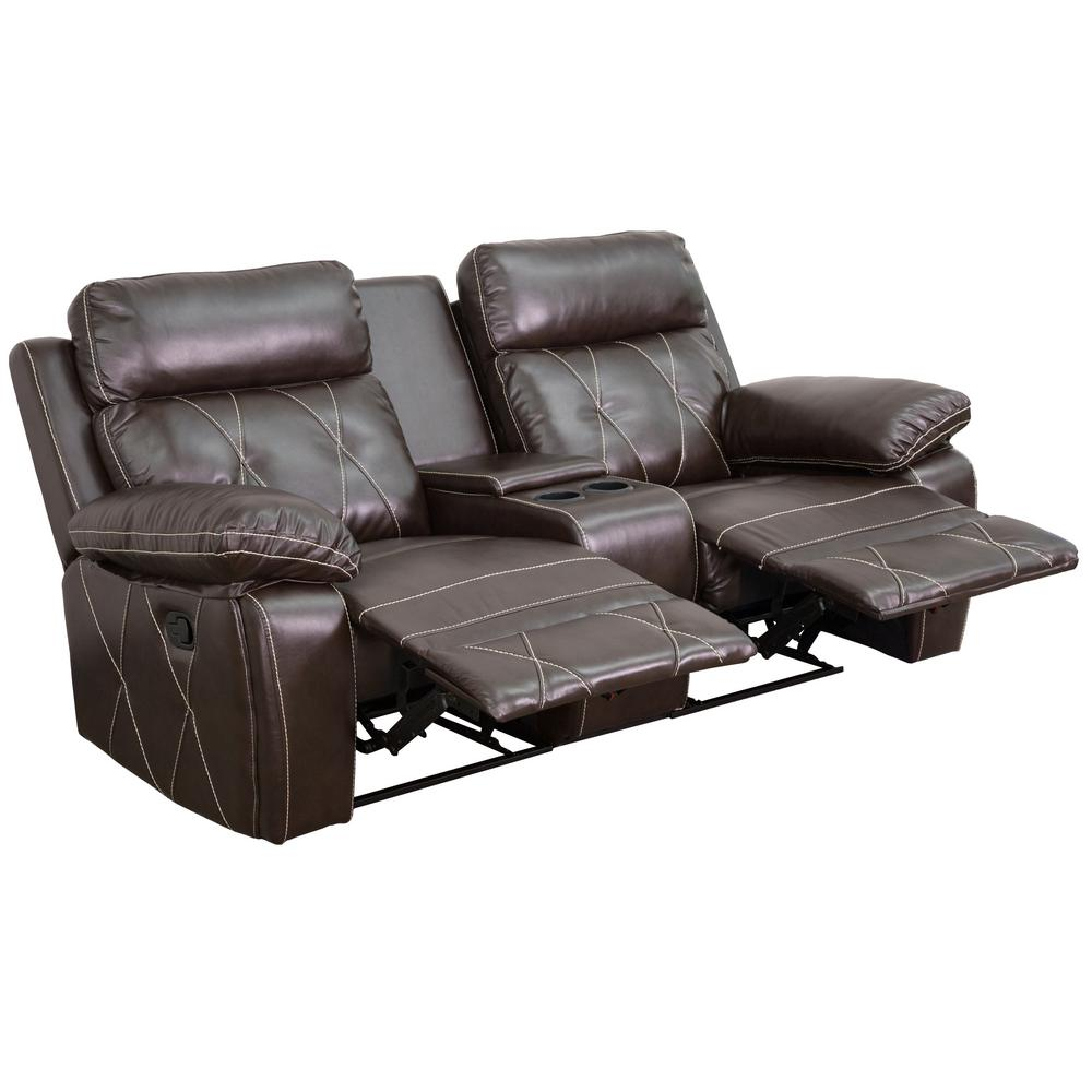 Flash Furniture Reel Comfort Series 2-Seat Reclining Brown Leather Theater Seating Unit with Straight  sc 1 st  The Home Depot & Flash Furniture Reel Comfort Series 2-Seat Reclining Brown Leather ... islam-shia.org