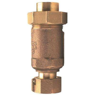 1 in. Lead-Free Bronze Union FNPT Inlet and Outlet Dual Check Valve