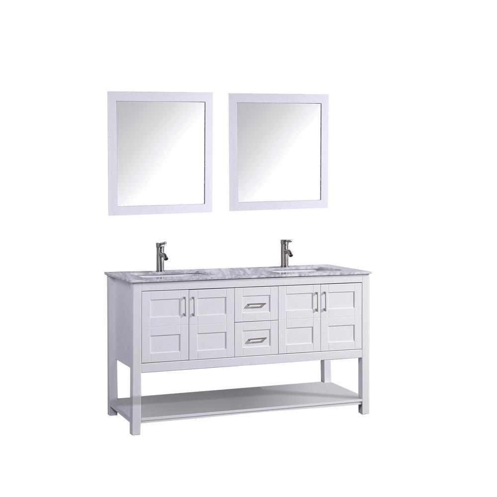 Norway 60 in. H x 22 in. D x 36 in. H Vanity in White with Marble Vanity Top in White with White Basins and Mirrors