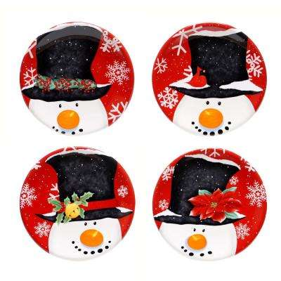 Top Hat Snowman 6 in. Canape Plate (Set of 4)