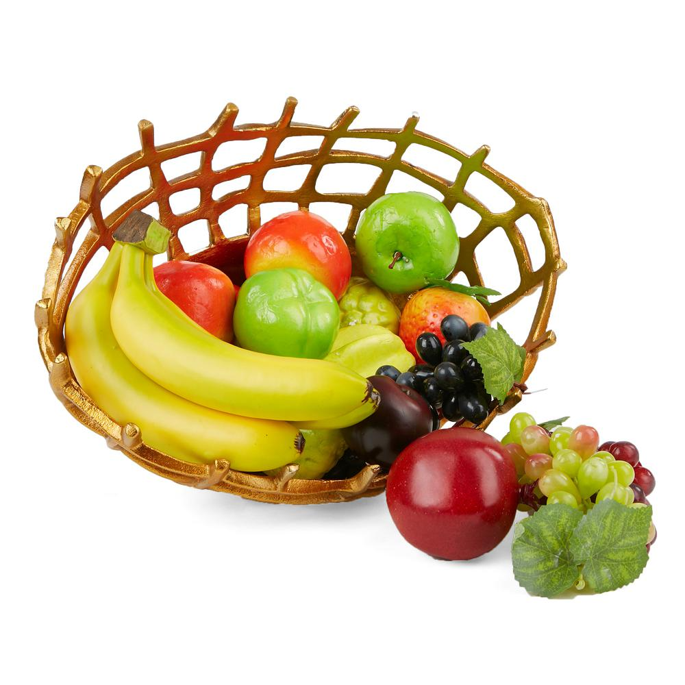 Mind reader gold aluminum decorative fruit bowl fruit holder fruit basket and snack storage