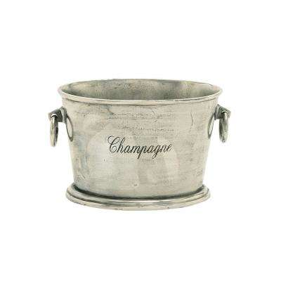 Silver Aluminum Bucket Wine Cooler with Loop Swing Handles