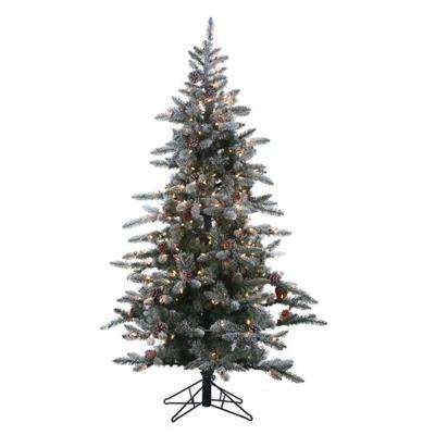 6 ft. Pre-Lit Lightly Flocked McKinley Pine Artificial Christmas Tree with Clear Lights and Pinecones