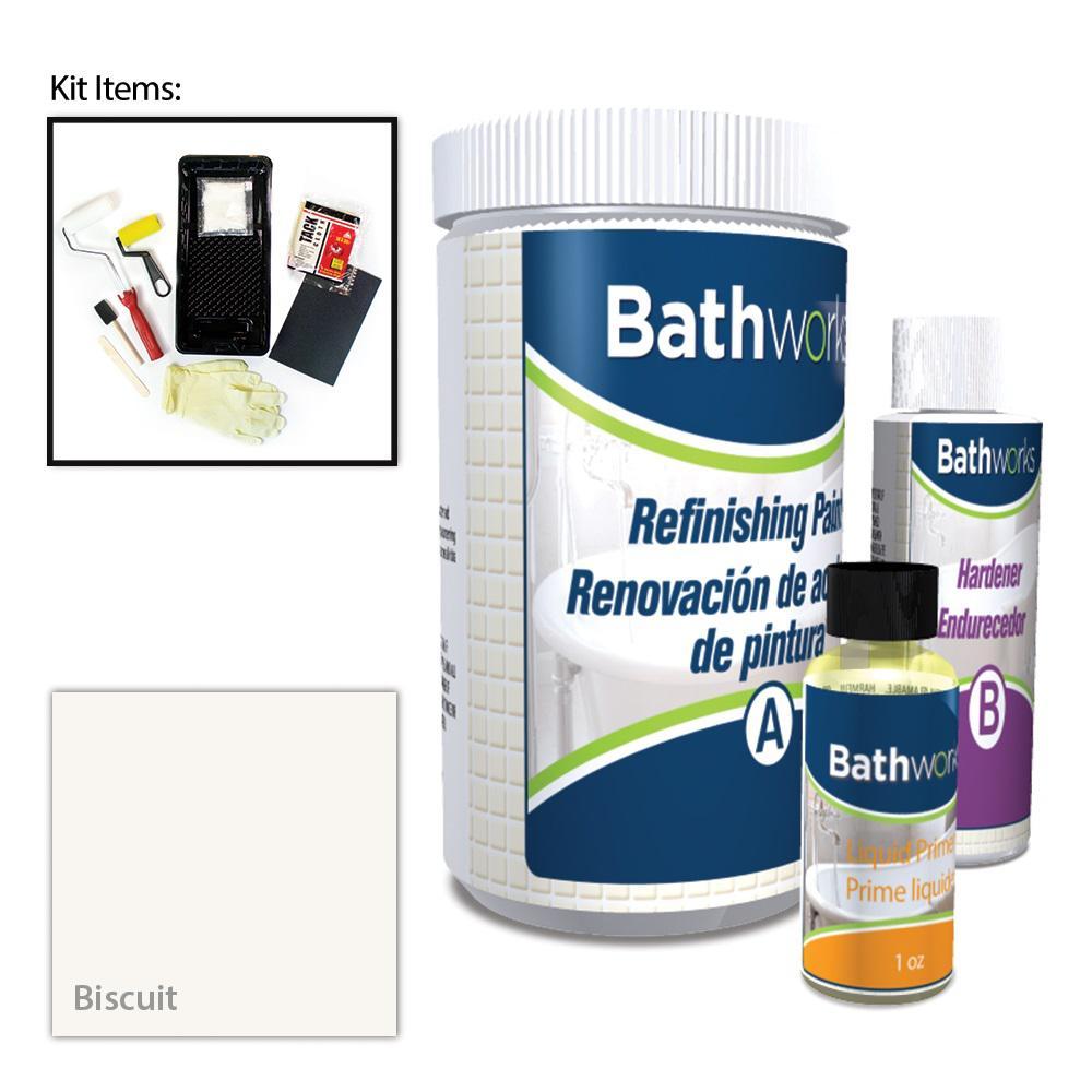 BATHWORKS 20 oz. DIY Bathtub Refinishing Kit- Biscuit-BWK ...