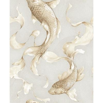 Metallic Gold and Gray Koi Fish Wallpaper