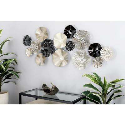 Iron Black and Silver Floral Disc Montage Metal Work