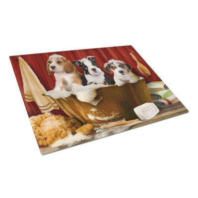Beagle, Boston Terrier and Jack Russel in the Tub Tempered Glass Large Cutting Board