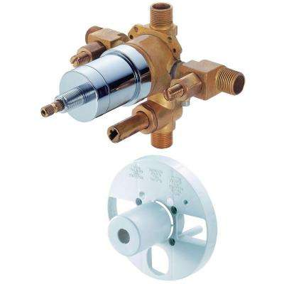 Single-Handle Pressure Balance Mixing Valve with Screwdriver Stops and Diverter in Rough Brass