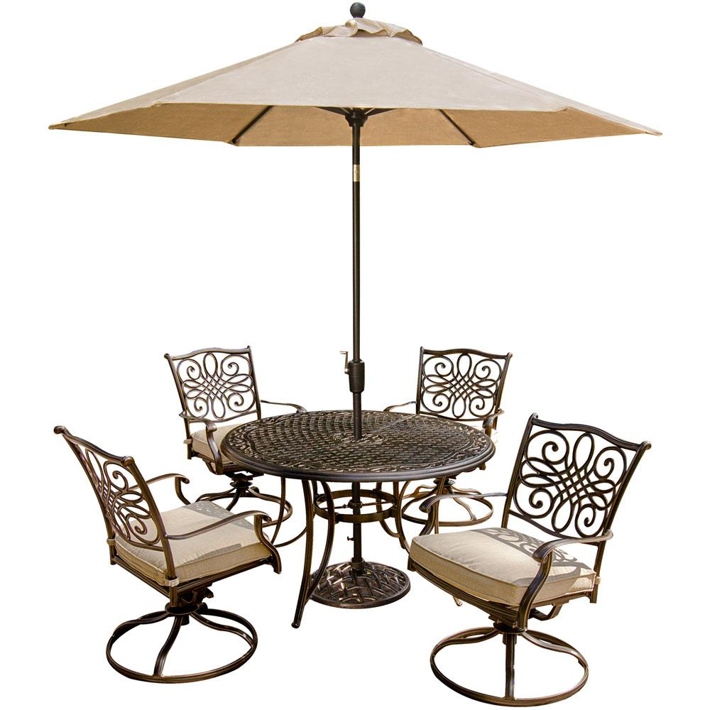 Traditions 5 Piece Outdoor Patio Dining Set And Umbrella With Natural Oat  Cushions
