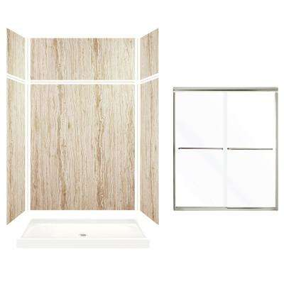 Expressions 32 in. x 60 in. x 96 in. Center Drain Alcove Shower Kit with Extension Door in Sorento and Nickel