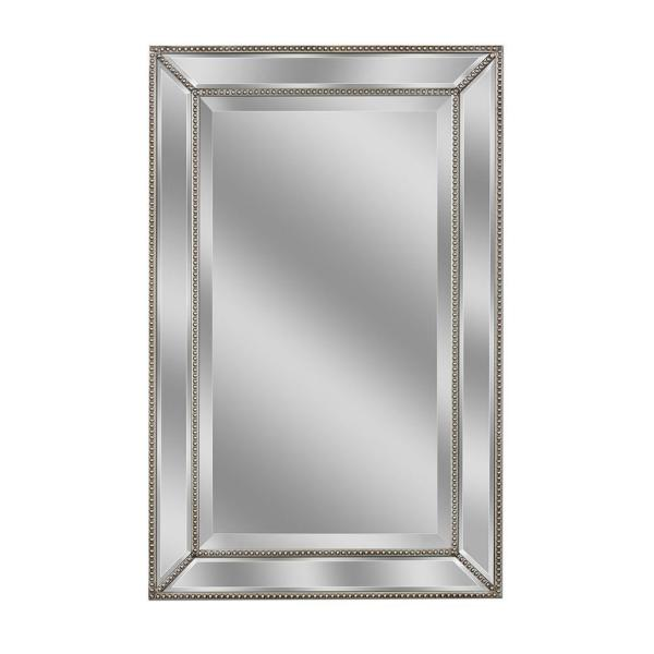 24 in. W x 36 in. H Framed Rectangular Beveled Edge Bathroom Vanity Mirror in Champagne silver