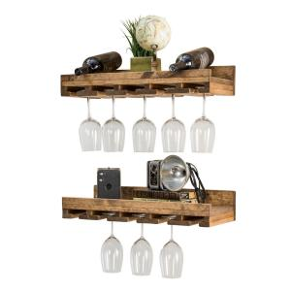 Rustic Luxe 24 in W x 10 in D Dark Walnut Stemware Decorative Shelves (Set of 2)