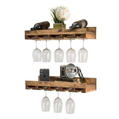 Rustic Luxe 24 in W x 10 in D Dark Walnut Stemware Decorative Shelves (Set of 2)