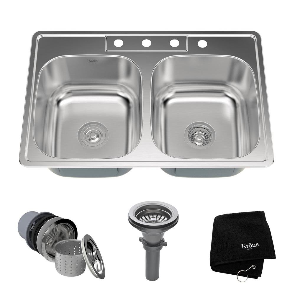 Drop-In Stainless Steel 33 in. 4-Hole Double Bowl Kitchen Sink Kit
