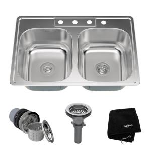 4 Hole Double Bowl Kitchen Sink Kit
