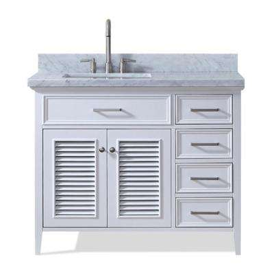 Kensington 43 in. Bath Vanity in White with Marble Vanity Top in Carrara White with White Basin