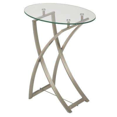 Catherine Clear Tempered Glass Oval End Table in Satin Chrome