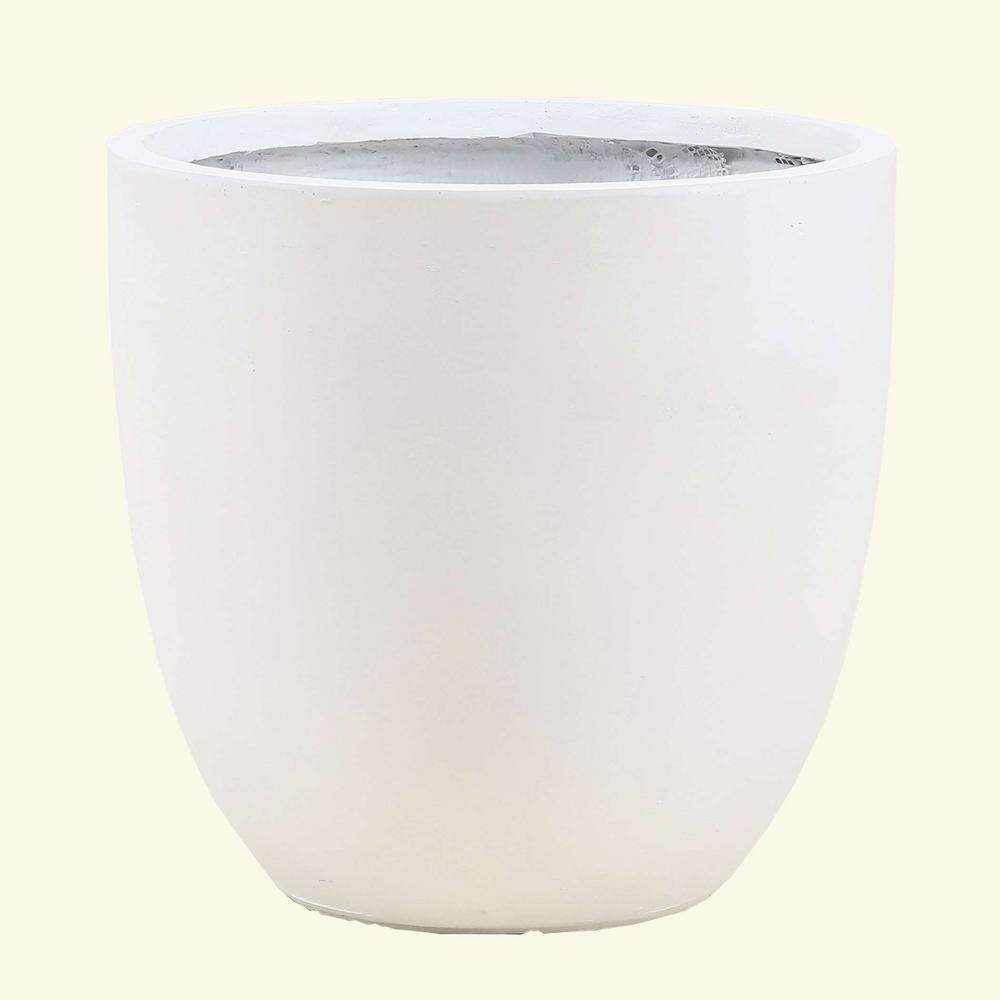 Small Round White Fiberclay Planter