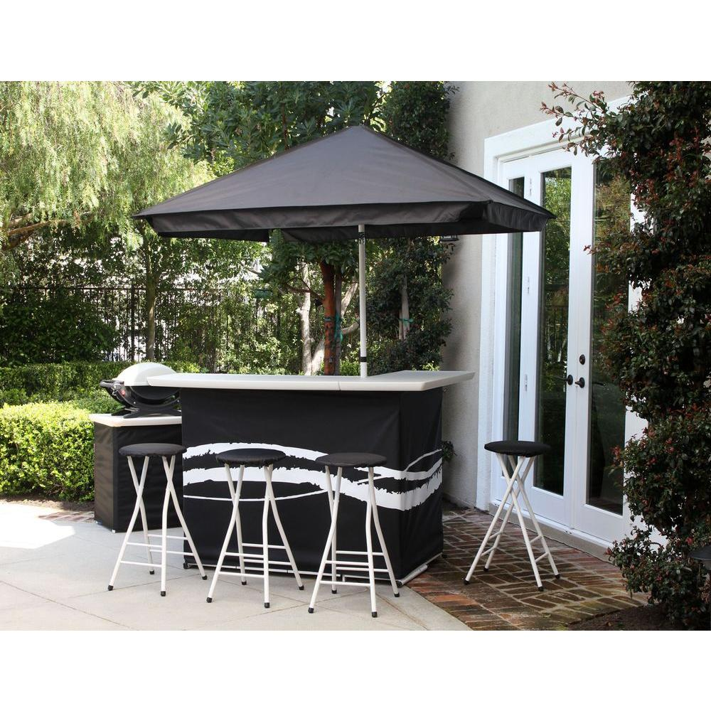 Best Of Times Clic Black All Weather Patio Bar Set With 6 Ft Umbrella