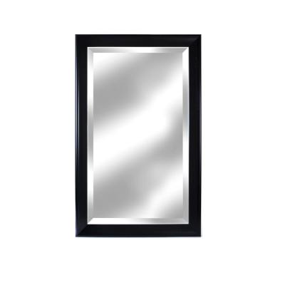 Large Rectangle Black Matte Beveled Glass Contemporary Mirror (41 in. H x 26 in. W)