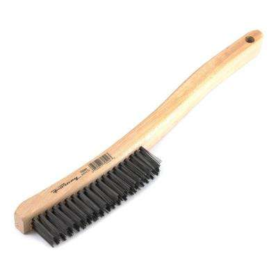 13-3/4 in. Curved Wood Handled Carbon Steel Wire Scratch Brush