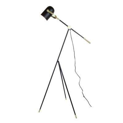 Industrial 55 in. Matt Black Floor Lamp with Tripod