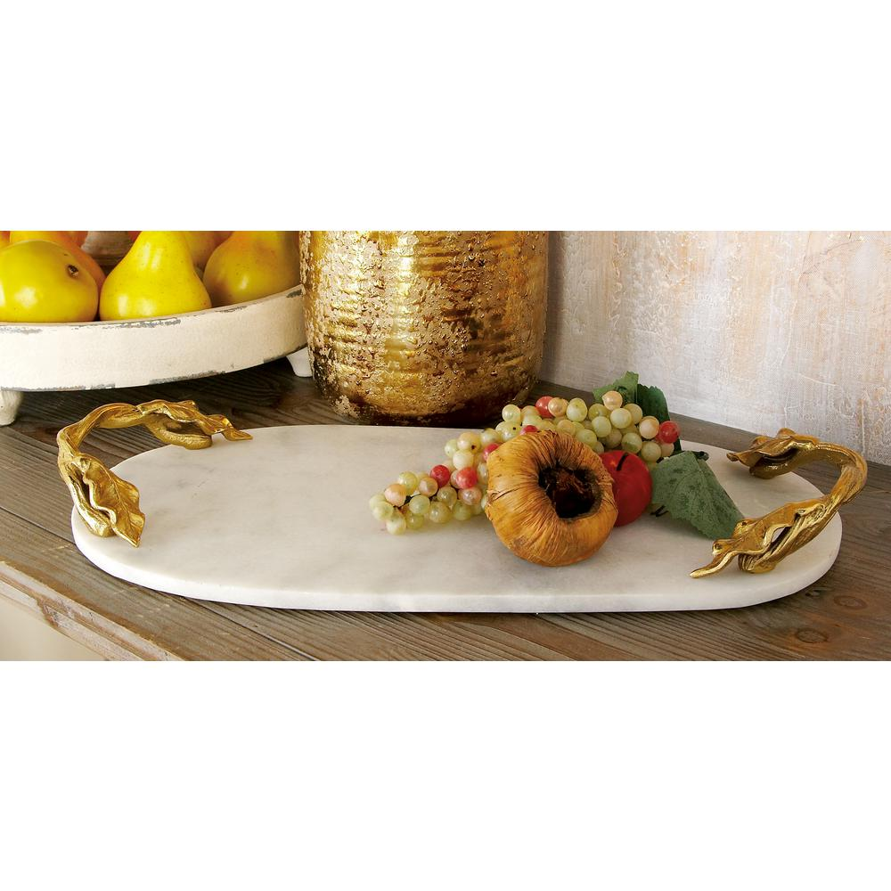 20 in. W x 2 in. H White Marble Oval Decorative Tray with Gold  Leaf,and,Vine,Shaped End Handles