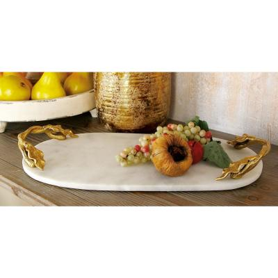 20 in. W x 2 in. H White Marble Oval Decorative Tray with Gold Leaf-and-Vine-Shaped End Handles