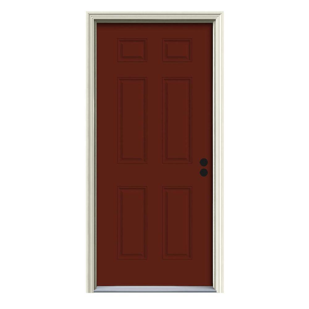 30 in. x 80 in. 6-Panel Mesa Red Painted Steel Prehung Left-Hand Inswing Front Door w/Brickmould