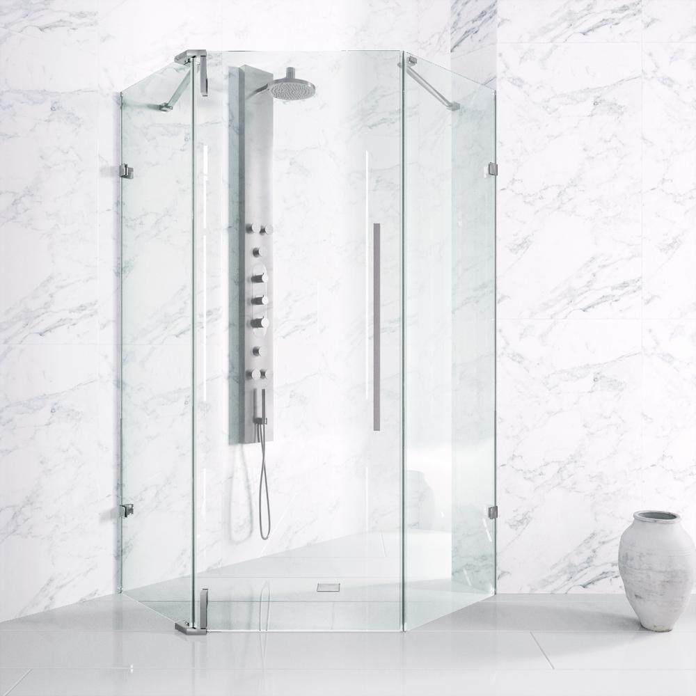 adjustable frameless hinged shower door in chrome