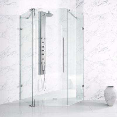 Ontario 36 in. x 36 in. Adjustable Frameless Hinged Shower Door in Chrome with Handle