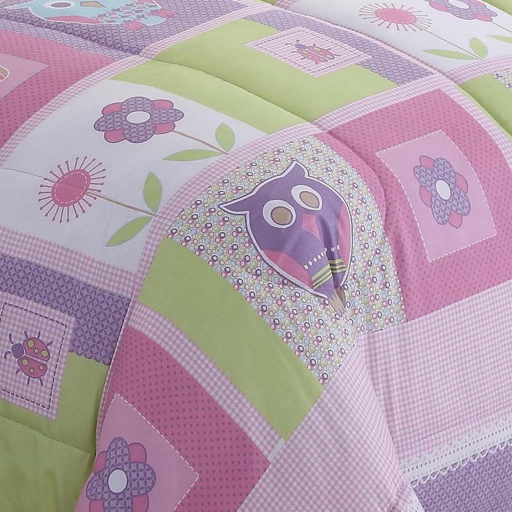 Happy 3-Piece Pink Owls Queen Comforter Set
