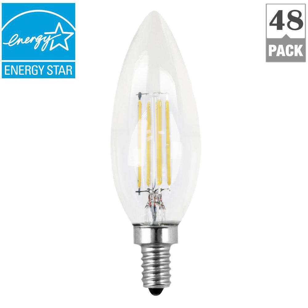 Feit Electric 60w Equivalent Daylight 5000k B10 Candelabra Dimmable Filament Led Clear Gl Light