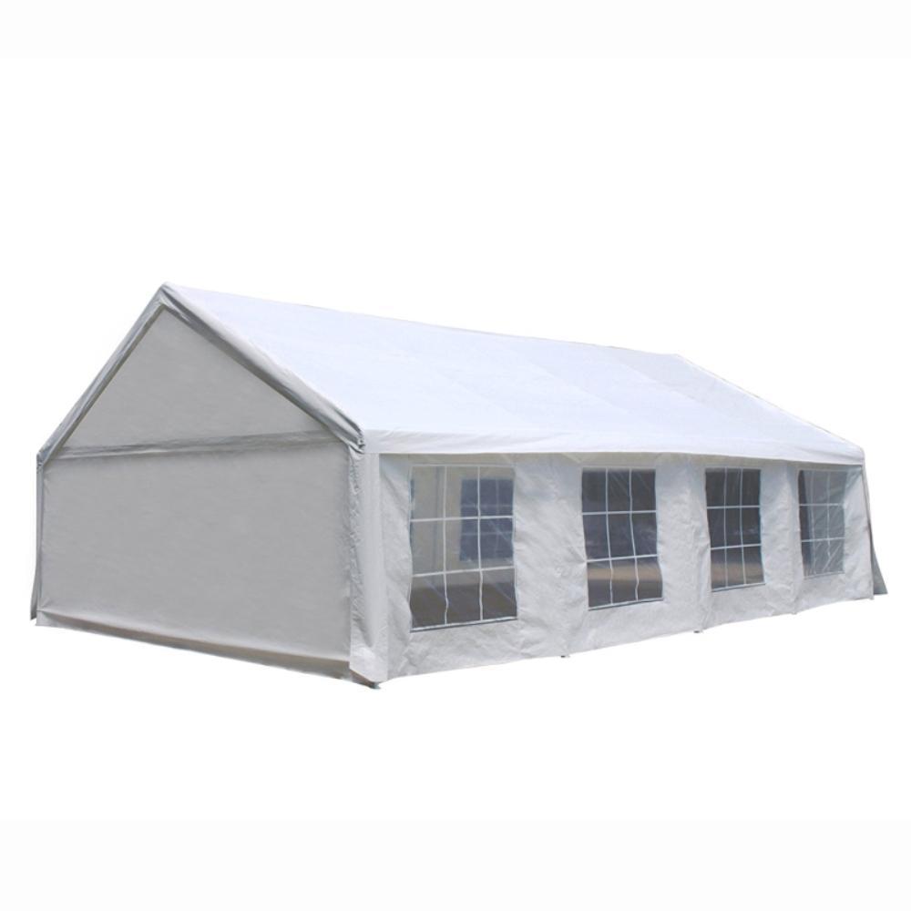 30 ft. x 20 ft. x 10 ft. White Roof PVC Carport