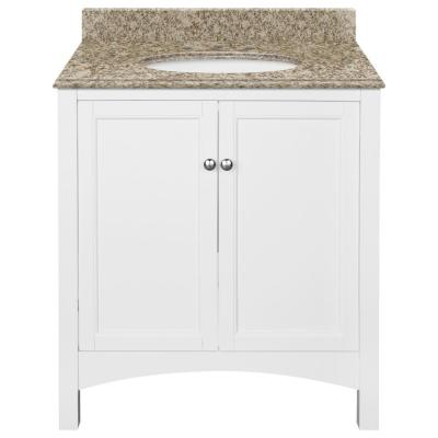 Haven 31 in. W x 22 in. D Bath Vanity in White with Granite Vanity Top in Golden Hill with Oval White Basin