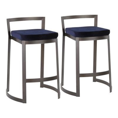 Fuji DLX 28 in. Antique Counter Stool with Blue Velvet Cushion (Set of 2)