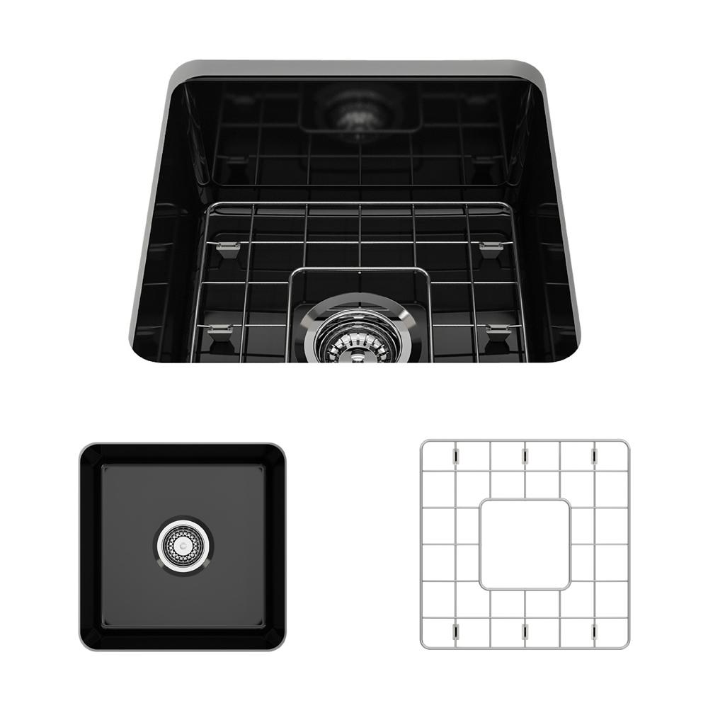 BOCCHI Sotto Undermount Fireclay 18 in. Single Bowl Kitchen Sink with Bottom Grid and Strainer in Black