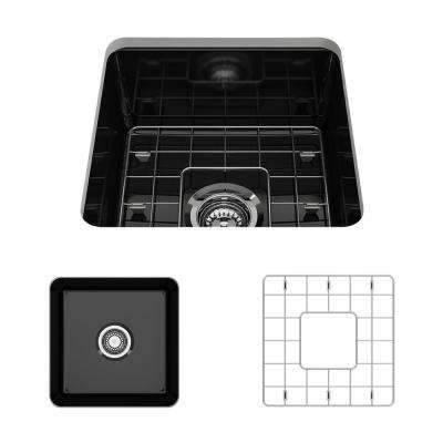 Sotto Undermount Fireclay 18 in. Single Bowl Kitchen Sink with Bottom Grid and Strainer in Black