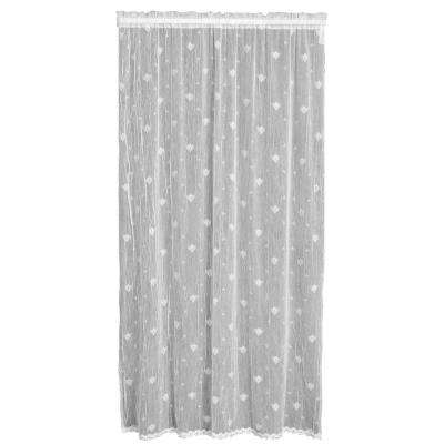 Bee White Lace Curtain 45 in. W 96 in. L