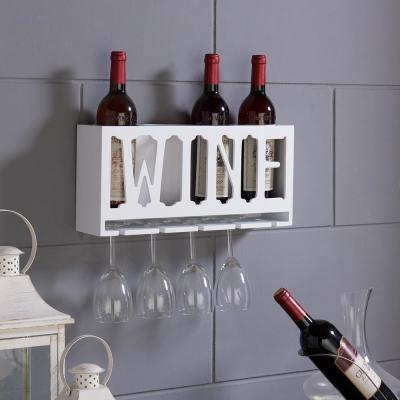 """""""WINE"""" 4-Bottle and Wineglass Wall Holder"""