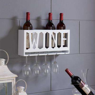 """WINE"" 4-Bottle and Wineglass Wall Holder"