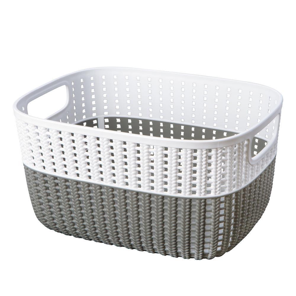 Sailor Knot 6 in. x 9 in. Medium Storage Basket in 2-Tone Grey