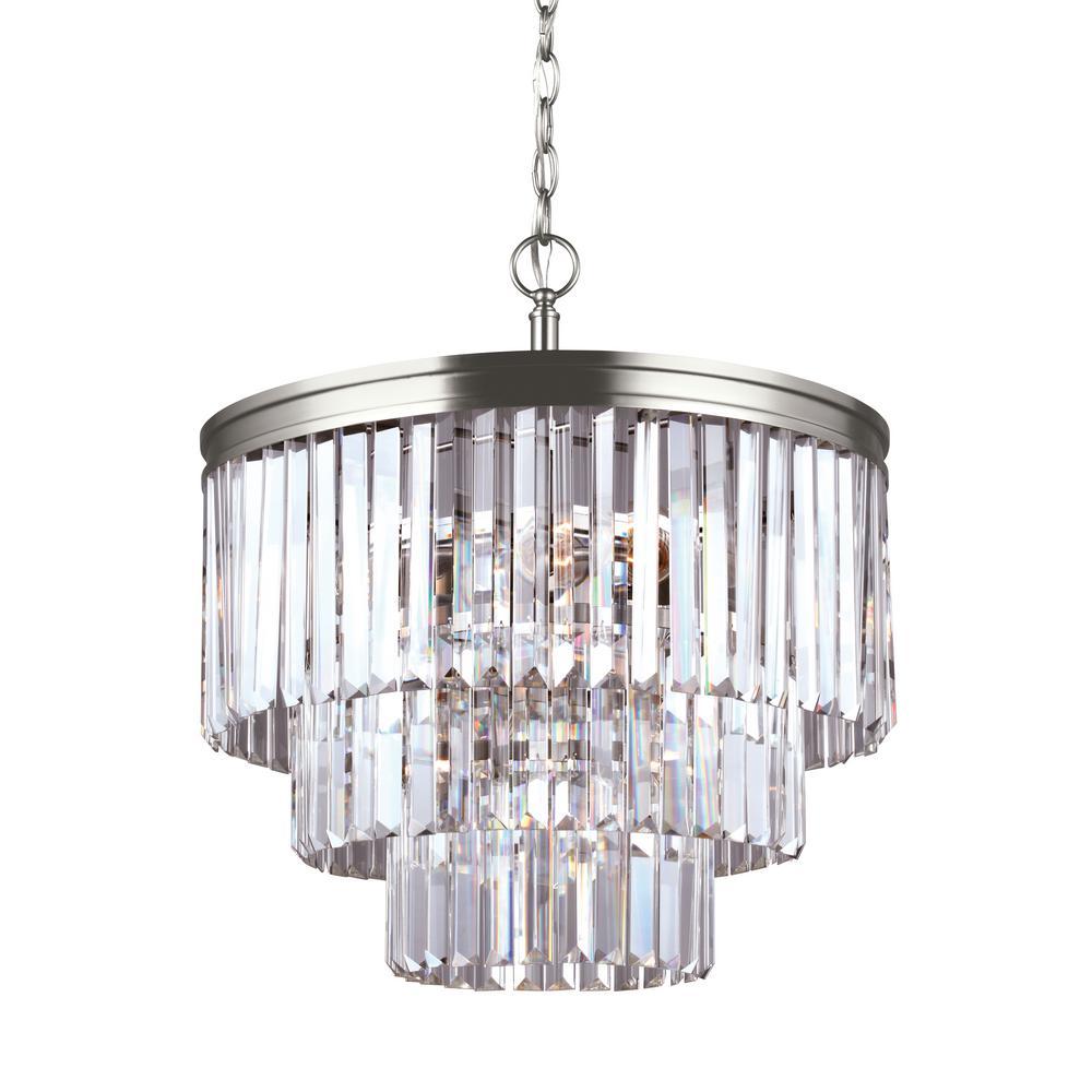 Carondelet 4-Light Antique Brushed Nickel Chandelier with LED Bulbs