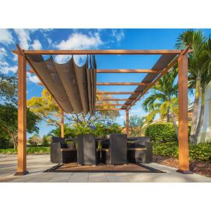 Paragon 11 ft. x 11 ft. Aluminum Pergola with the Look of Canadian Cedar Wood and Creme Color Convertible Canopy by