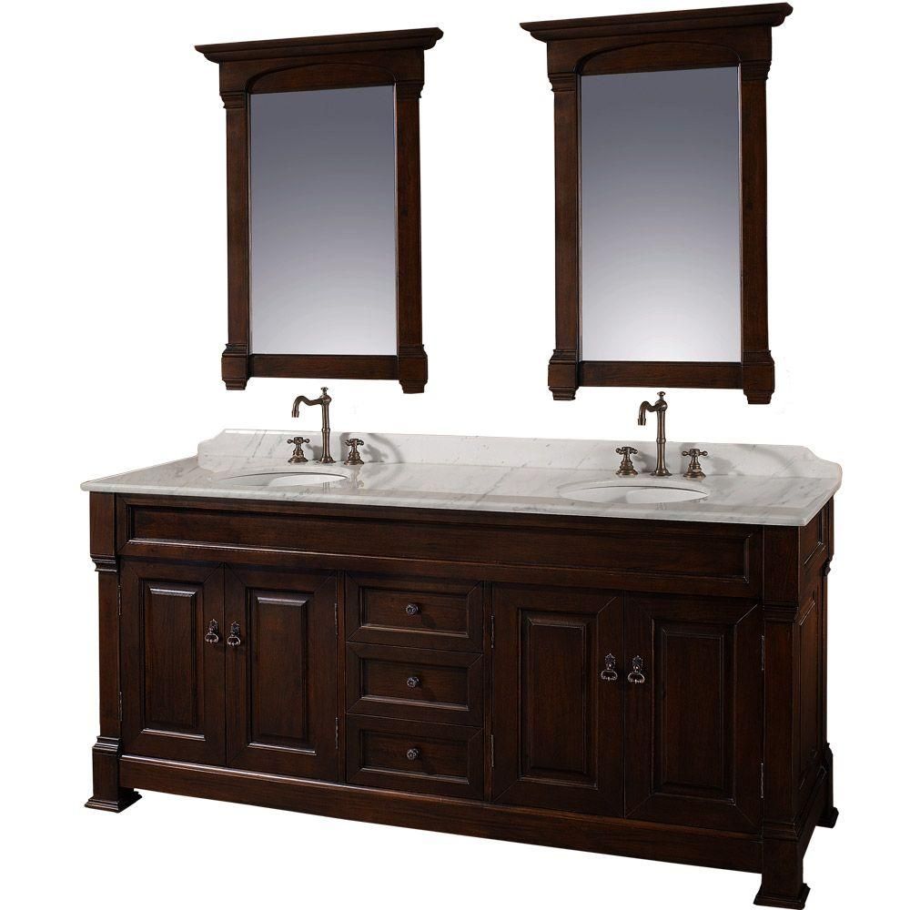 Wyndham Collection Andover 72 in. Vanity in Dark Cherry with Double Basin Marble Vanity Top in Carrera White and Mirrors