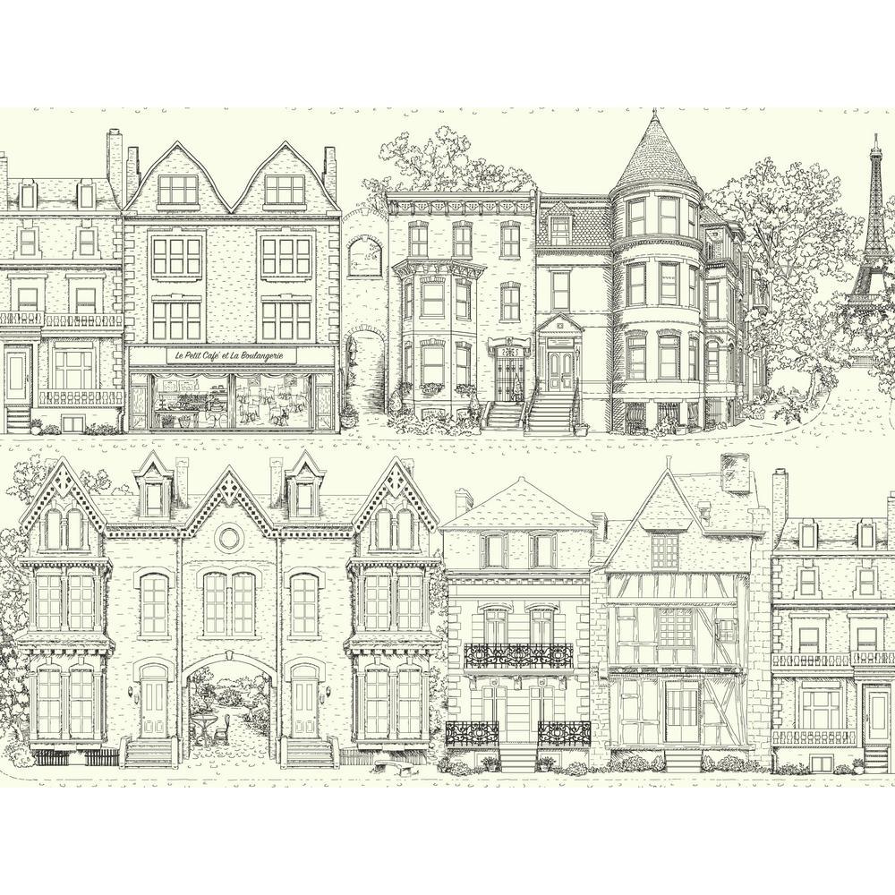 Ashford Toiles Brownstone Terrace Wallpaper