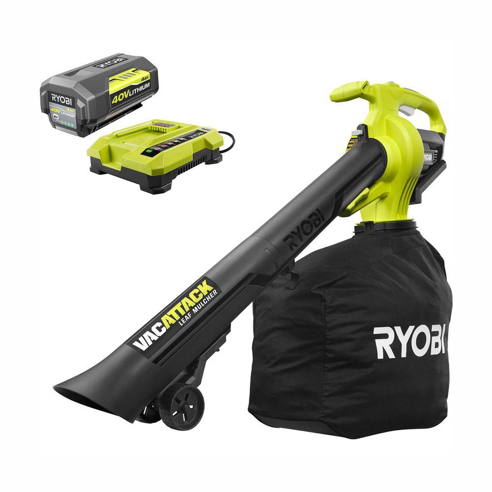 RYOBI 40-Volt Lithium-Ion Cordless Leaf Vacuum/Mulcher- 4.0 Ah Battery and Charger Included